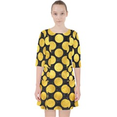 Circles2 Black Marble & Gold Paint (r) Pocket Dress