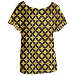 Circles3 Black Marble & Gold Paint Women s Oversized Tee by trendistuff