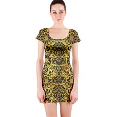Damask2 Black Marble & Gold Paint Short Sleeve Bodycon Dress by trendistuff