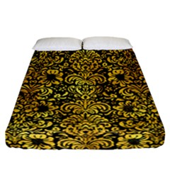 Damask2 Black Marble & Gold Paint (r) Fitted Sheet (california King Size) by trendistuff