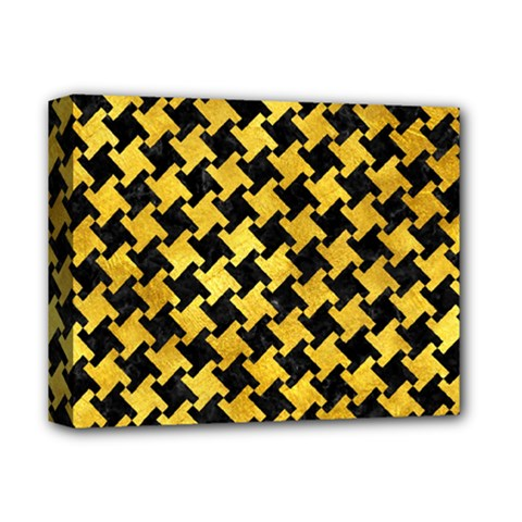 Houndstooth2 Black Marble & Gold Paint Deluxe Canvas 14  X 11  by trendistuff