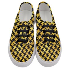Houndstooth2 Black Marble & Gold Paint Women s Classic Low Top Sneakers