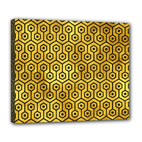 Hexagon1 Black Marble & Gold Paint Deluxe Canvas 24  X 20   by trendistuff