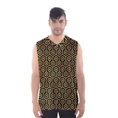 Hexagon1 Black Marble & Gold Paint (r) Men s Basketball Tank Top by trendistuff