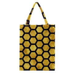 Hexagon2 Black Marble & Gold Paint Classic Tote Bag by trendistuff