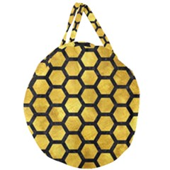 Hexagon2 Black Marble & Gold Paint Giant Round Zipper Tote