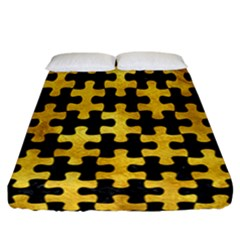 Puzzle1 Black Marble & Gold Paint Fitted Sheet (california King Size) by trendistuff