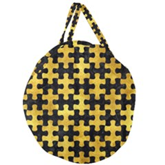 Puzzle1 Black Marble & Gold Paint Giant Round Zipper Tote