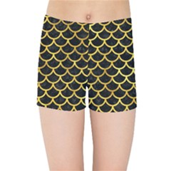 Scales1 Black Marble & Gold Paint (r) Kids Sports Shorts