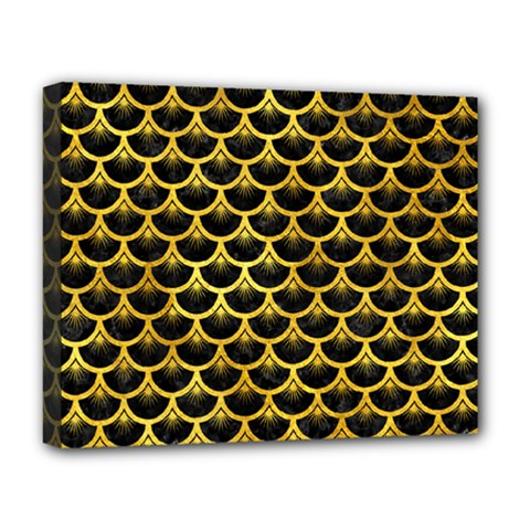Scales3 Black Marble & Gold Paint (r) Deluxe Canvas 20  X 16   by trendistuff