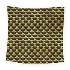 Scales3 Black Marble & Gold Paint (r) Square Tapestry (large) by trendistuff
