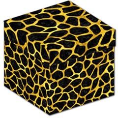 Skin1 Black Marble & Gold Paint Storage Stool 12   by trendistuff