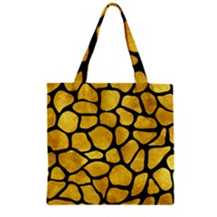 Skin1 Black Marble & Gold Paint (r) Zipper Grocery Tote Bag by trendistuff
