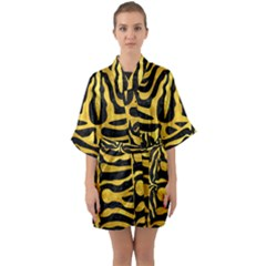 Skin2 Black Marble & Gold Paint (r) Quarter Sleeve Kimono Robe by trendistuff