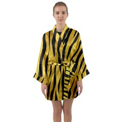 Skin3 Black Marble & Gold Paint Long Sleeve Kimono Robe
