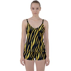 Skin3 Black Marble & Gold Paint (r) Tie Front Two Piece Tankini
