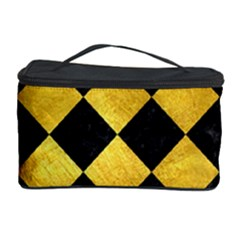 Square2 Black Marble & Gold Paint Cosmetic Storage Case by trendistuff