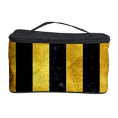 Stripes1 Black Marble & Gold Paint Cosmetic Storage Case by trendistuff