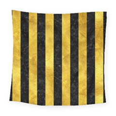 Stripes1 Black Marble & Gold Paint Square Tapestry (large) by trendistuff