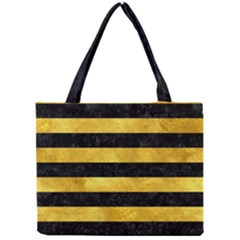 Stripes2 Black Marble & Gold Paint Mini Tote Bag by trendistuff