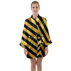 Stripes3 Black Marble & Gold Paint Long Sleeve Kimono Robe