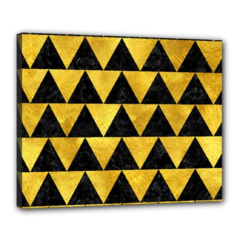 Triangle2 Black Marble & Gold Paint Canvas 20  X 16  by trendistuff