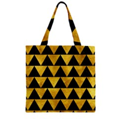 Triangle2 Black Marble & Gold Paint Zipper Grocery Tote Bag by trendistuff