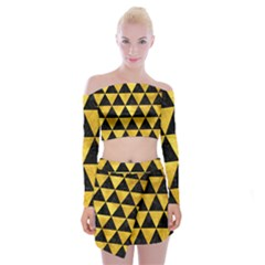 Triangle3 Black Marble & Gold Paint Off Shoulder Top With Mini Skirt Set