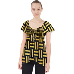 Woven1 Black Marble & Gold Paint (r) Lace Front Dolly Top