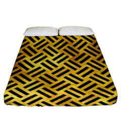 Woven2 Black Marble & Gold Paint Fitted Sheet (queen Size) by trendistuff