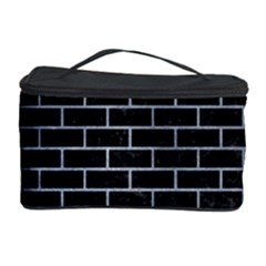 Brick1 Black Marble & Silver Paint (r) Cosmetic Storage Case