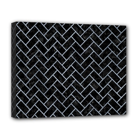 Brick2 Black Marble & Silver Paint (r) Deluxe Canvas 20  X 16   by trendistuff