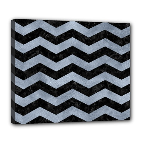 Chevron3 Black Marble & Silver Paint Deluxe Canvas 24  X 20   by trendistuff