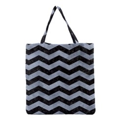Chevron3 Black Marble & Silver Paint Grocery Tote Bag by trendistuff
