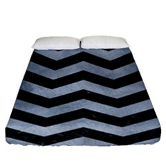 Chevron3 Black Marble & Silver Paint Fitted Sheet (queen Size) by trendistuff
