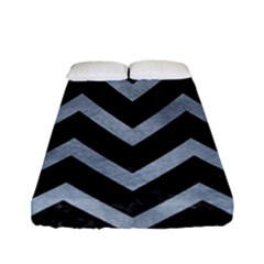 Chevron9 Black Marble & Silver Paint (r) Fitted Sheet (full/ Double Size) by trendistuff