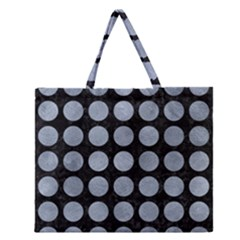 Circles1 Black Marble & Silver Paint (r) Zipper Large Tote Bag by trendistuff