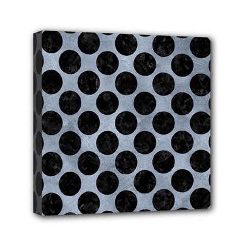 Circles2 Black Marble & Silver Paint Mini Canvas 6  X 6  by trendistuff