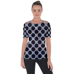 Circles2 Black Marble & Silver Paint Short Sleeve Top
