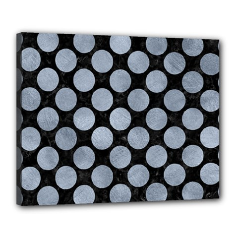 Circles2 Black Marble & Silver Paint (r) Canvas 20  X 16  by trendistuff