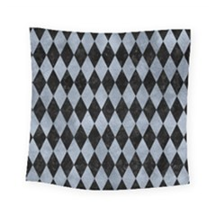 Diamond1 Black Marble & Silver Paint Square Tapestry (small) by trendistuff