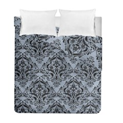 Damask1 Black Marble & Silver Paint Duvet Cover Double Side (full/ Double Size) by trendistuff
