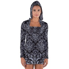 Damask1 Black Marble & Silver Paint (r) Long Sleeve Hooded T Shirt
