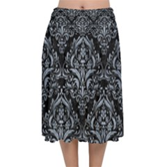 Damask1 Black Marble & Silver Paint (r) Velvet Flared Midi Skirt by trendistuff