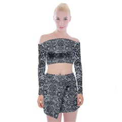 Damask2 Black Marble & Silver Paint Off Shoulder Top With Mini Skirt Set