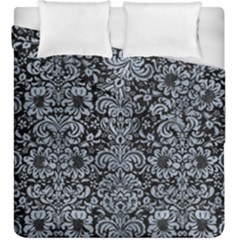 Damask2 Black Marble & Silver Paint (r) Duvet Cover Double Side (king Size) by trendistuff