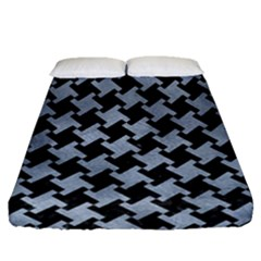 Houndstooth2 Black Marble & Silver Paint Fitted Sheet (queen Size) by trendistuff