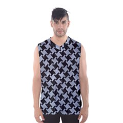 Houndstooth2 Black Marble & Silver Paint Men s Basketball Tank Top by trendistuff