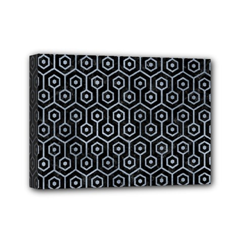 Hexagon1 Black Marble & Silver Paint (r) Mini Canvas 7  X 5  by trendistuff