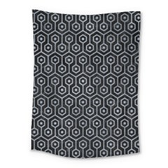 Hexagon1 Black Marble & Silver Paint (r) Medium Tapestry by trendistuff